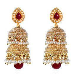 Hand Carved  Red- White Pearls Gold Plated Jhumki
