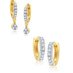 YouBella Combo of Fancy Drop and Gold Plated Bali Earrings