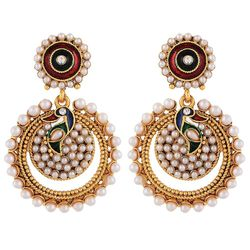 YouBella Designer Traditional Peacock Chandbali Earrings