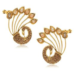 YouBella Designer Traditional Dancing Peacock Earcuff Earrings