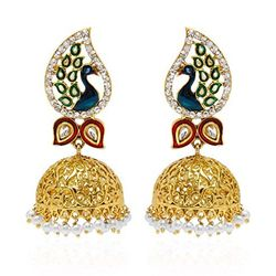Dancing Peacock Multi-Color Gold Plated Jhumki Earrings