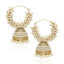 Youbella Pearl Gold Hoop Earrings For Women/Girls