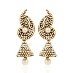 Youbella Pearl Studded Gold Jhumki Earrings For Women/Girls