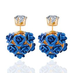 YouBella Jewellery Rose Shape Two Sided Fancy Party Wear Earrings for Girls and Women