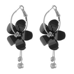 Beguilling Classy CZ  Hand Carved Silver Plated Floral Earring