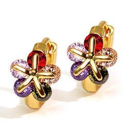Variegated Floral Swiss Zircon Earrings