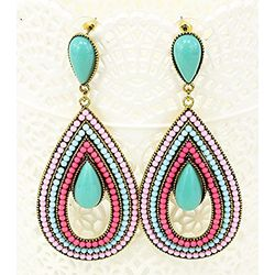 Flashy Teal Coloured Hinged Beads Bohemain Earring