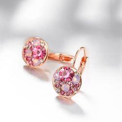 Glistening Fuchsia Rose Gold Sheen Swiss Zircon  Earring