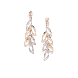 Swashbuckling Petal  CZ  Incised Gold Tone Earring
