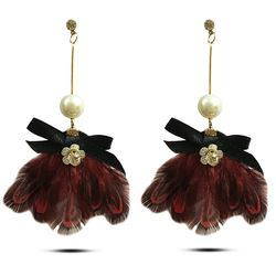 Luscious  Coral Red Plume Earring