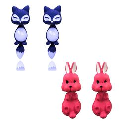 Charming Como Of Kitten and Rabbit Earring