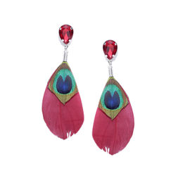 Alizarin Crimson Peacock Quill Earring