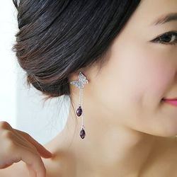 Glossy Pansy Purple Crystal Dangling Earrings