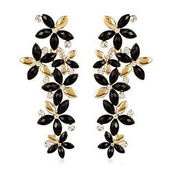 Top-Notch Austrian Zircon Golden-Black Earring