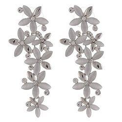 Bonzer Silver-Whte Bloomy Earring