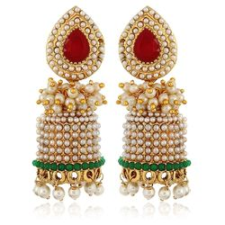 Intricated Red-Green Pearls Gold Plated Jhumki