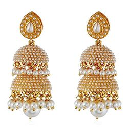 Cotton White  Clustered Pearls  Jhumki