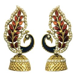 Hand Finished  Meenakari  Peacock Gold Plated Jhumki