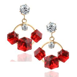 YouBella Fashion Jewellery Summer Special Crystal Stylish Fancy Party Wear Earrings for Girls and Women (Red)