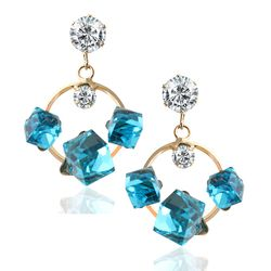 YouBella Fashion Jewellery Summer Special Crystal Stylish Fancy Party Wear Earrings for Girls and Women (Blue)