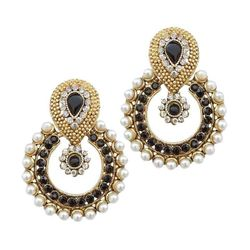 YouBella Ethnic Traditional Pearl Chandbali Earrings (Black)