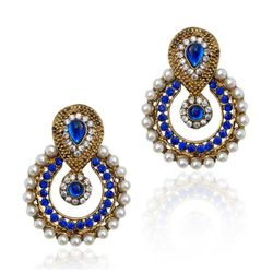 YouBella Ethnic Traditional Pearl Chandbali Earrings (Blue)