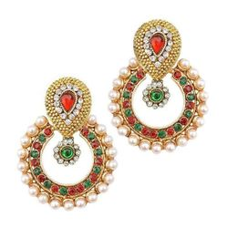 YouBella Ethnic Traditional Pearl Chandbali Earrings (Multi-Red-Green)