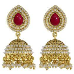 YouBella Stylish and Trendy Gold Plated Pearl Jhumki Earrings