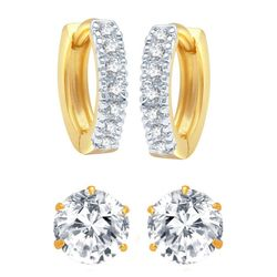 YouBella Jewellery American Diamond Gold Plated Combo of Hoop and Stud Earrings for Girls and Women
