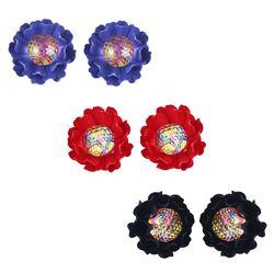 Trendy Blue-Black Red Lotus Earrings Combo