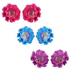 Trendy Pink-Blue-Purple Lotus Earrings Combo