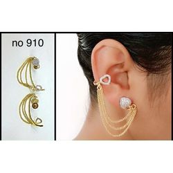 YouBella American Diamond Gold Plated Designer Hanging Earcuff