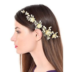 Floral Stone Hair Chain Clip With Pins accesories