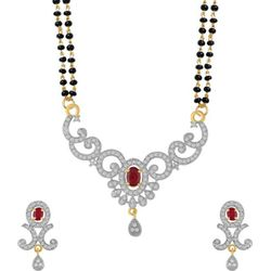 YouBella Women's Pride American Diamond Gold Plated Mangalsutra Pendant with