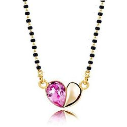 Rosy  Coloured Crystal Heart Mangalsutra
