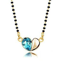 Azure Coloured Heart Cut Crystal Mangalsutra