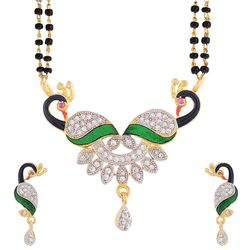 YouBella American Diamond Gold Plated Peacock Mangalsutra with Chain and Earrings for Women
