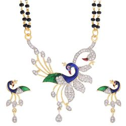YouBella Peacock Style American Diamond Gold Plated Mangalsutra Pendant with Chain and Earrings for Women