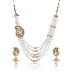 YouBella American Diamond Pearl Necklace Set For Women