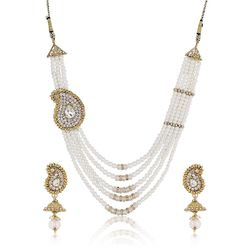 YouBella Jewellery American Diamond Pearl Necklace Set wih Earrings For Women and Girls