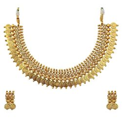 YouBella Pearl Traditional Temple coin Necklace Set for Women