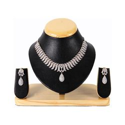 YouBella American Diamond Gold Plated Necklace Set For Women
