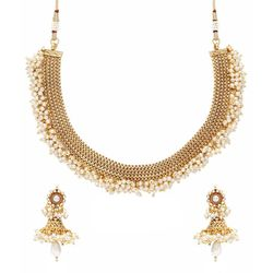 YouBella Latest Traditional Hanging Pearls Temple Necklace Set for Women