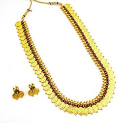 YouBella Long Traditional Maharani Red and Green Temple coin Necklace Set for