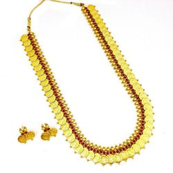 YouBella Long Traditional Maharani Red Temple coin Necklace Set for Women