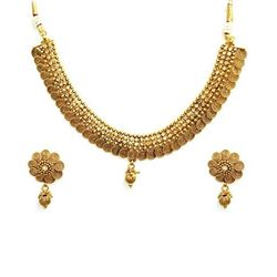 YouBella Antique Traditional Temple Necklace Set for Women