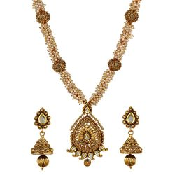 YouBella Antique Kundan and Pearl Traditional Maharani Temple Necklace Set / Jewellery Set with Earrings for Women