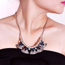 Tantalizing Bell Hinged Platinum Sheen Necklace