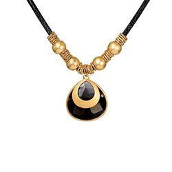 Flamboyant Metallic Golden Black Crytal Necklace Set