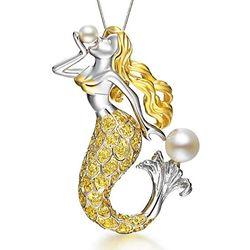 Angelic Mermaid Swiss Zircon Sculpted Necklace